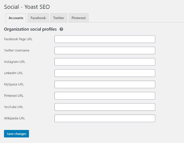 Yoast SEO Social setting