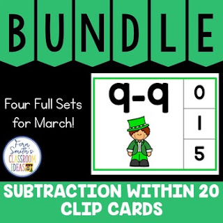 Subtraction Within 20 Clip Cards March Bundle