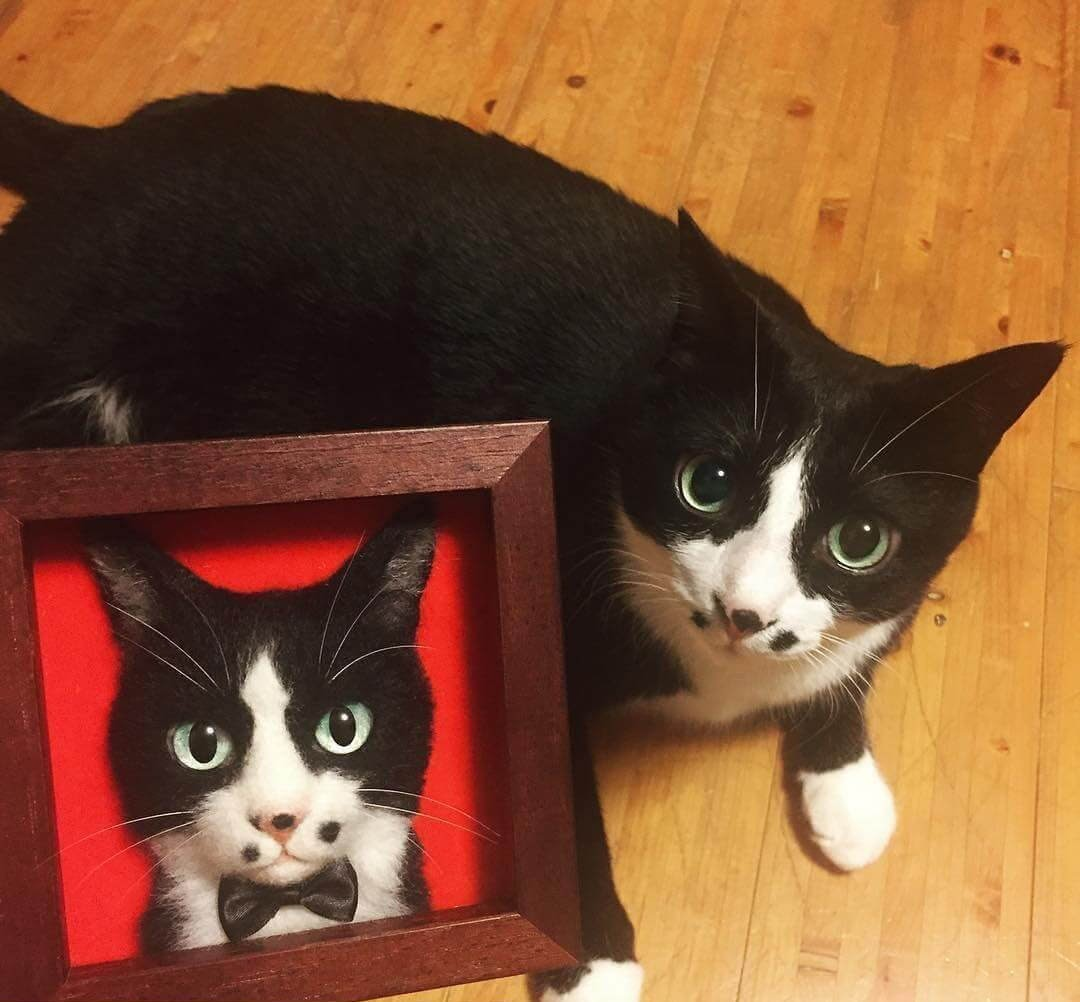 02-Wakuneco-Wool-Needle-Felt-Cat-Portraits-and-Video-Demonstration-www-designstack-co