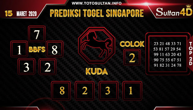 PREDIKSI TOGEL SINGAPORE SULTAN4D 15 MARET 2020
