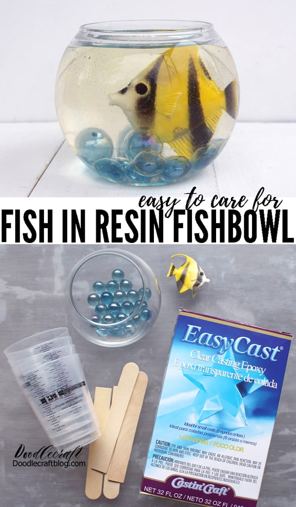 Fish are the only pet that we can own…because of our especially horrible animal allergies.  It got me thinking that it would be fun to make a resin fishbowl, then it's the perfect pet that needs no attention or care.    Little fish bowls would make a cute table centerpiece, fun for an animal themed party or a carnival set up.