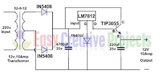 12 volt 10 amp power supply circuit diagram