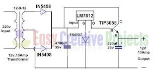 12 volt 10 amp power supply circuit diagram