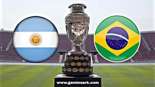 توقيت مباراة النهائي بين البرازيل و الأرجنتين و التطبيقات الناقلة