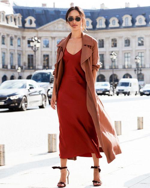 Vestido slip e casaco