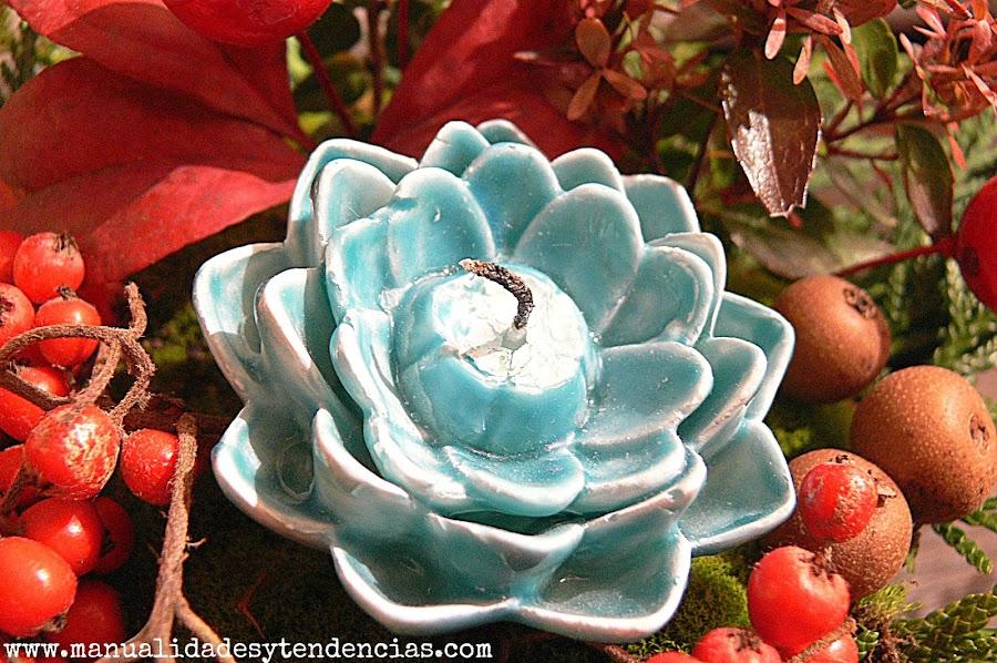Vela con forma de flor para centro de mesa