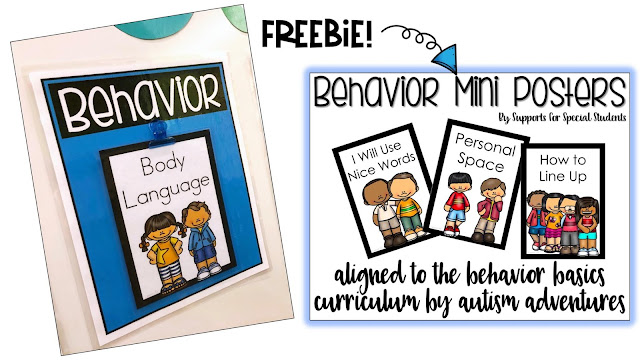 2 pictures, on the left is a behavior poster for body language, on the right is the cover of a behavior mini posters with the word freebie above