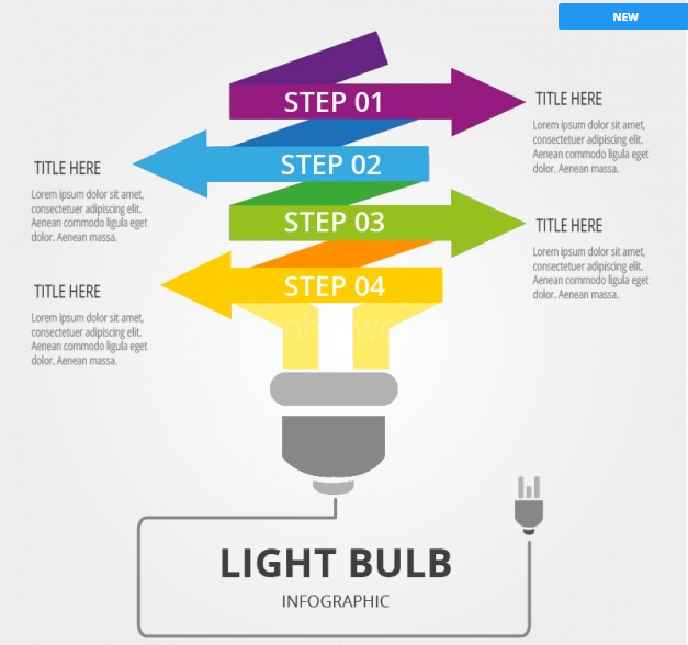 Download Light Bulb Infographic with Colorful Arrows