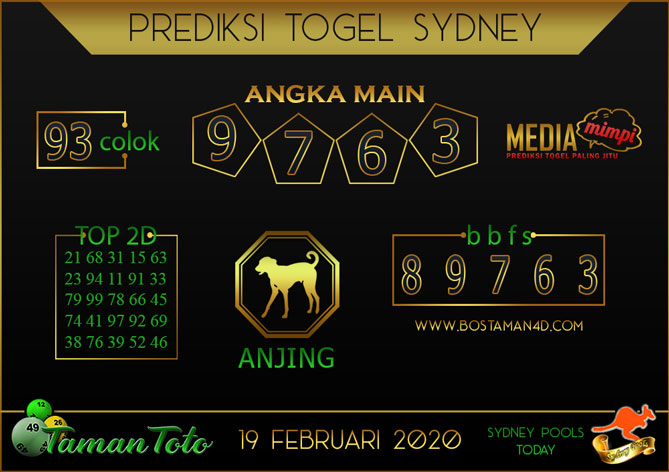 Prediksi Togel SYDNEY TAMAN TOTO 19 FEBRUARY 2020