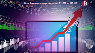 Цена биткоина за сутки выросла с $11,500 до $15,000