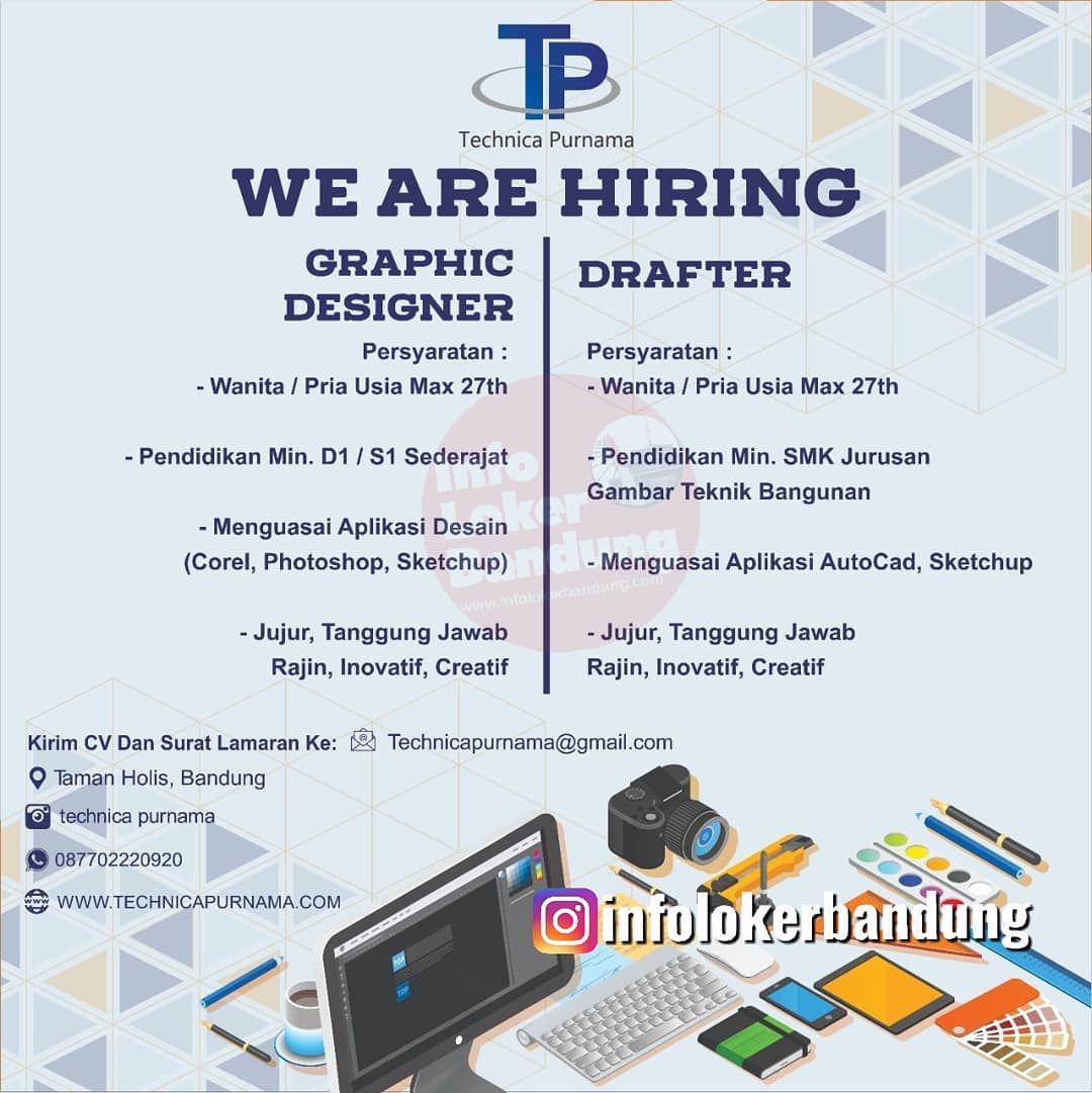 Lowongan Kerja Graphic Designer & Drafter Technica Purnama Bandung Oktober 2019