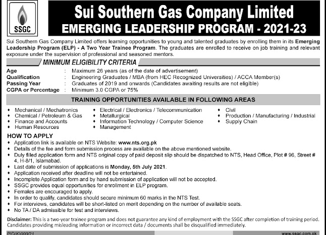 Sui Southern Gas Company  Limited SSGC Emerging Leadership Program  2021- 2023