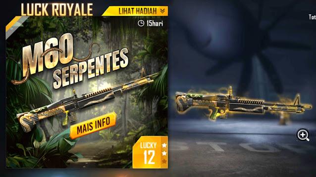 Bocoran Weapon Royale Terbaru Free Fire M60 Serpents Maret 2021