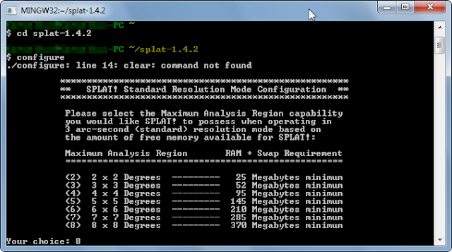SPLAT compilation in MSYS console