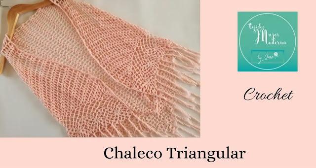 Tutorial Chaleco Triangular Rosa a Crochet