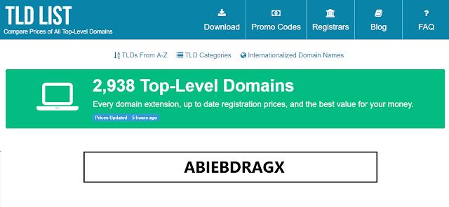 Cara Membandingkan Harga Domain Termurah Hingga Paling Mahal, Domain gratis, diskon domain, https://tld-list.com/, WHOIS, ICANN, SSL, abiebdragx