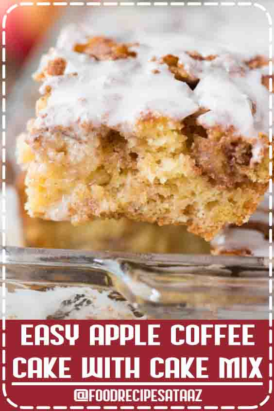 4.9 ★★★★★ | Easy apple coffee cake made with yellow cake mix, fresh apples and lots of cinnamon sugar swirled in. This easy apple cinnamon cake will become your favorite fall cake and your house will smell like Cinnabon! #Apple #Desserts #WithCakeMix #GlutenFree
