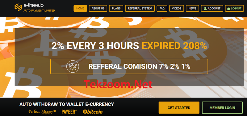 HIYP - Đầu tư kiếm Bitcoin với E-three.io - Ăn 2% sau mỗi 3h, Autopay