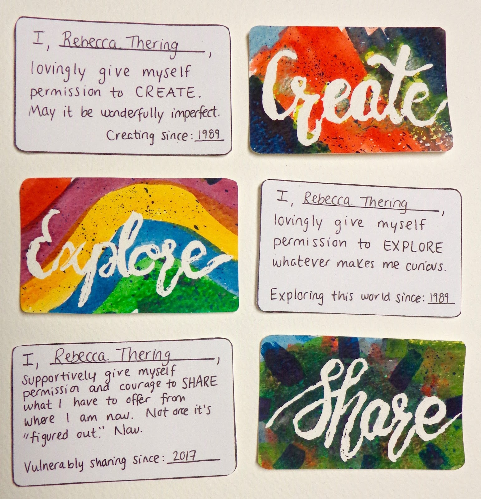 Self-permission cards - to create, explore, and share