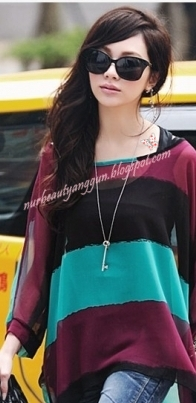 Blouse Trendy Top Blue Maroon