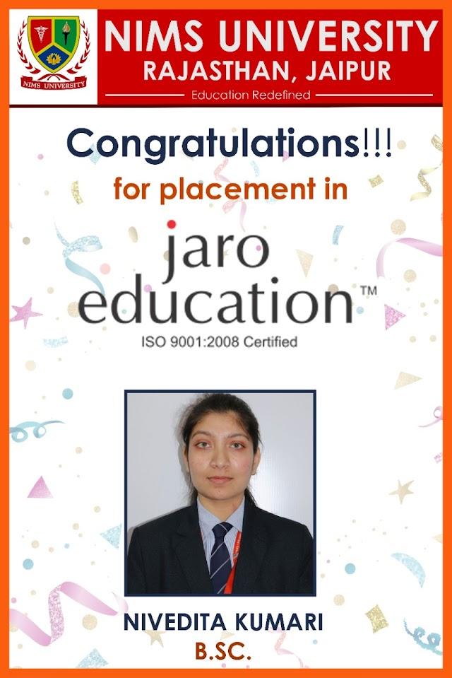 Placement in Nims University | Jaro Education | Nivedita Kumari