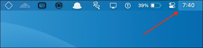 القفل الرقمي في شريط قوائم Mac.
