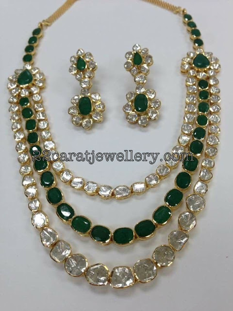 Three Layer Polki Emerald Medium Size Set