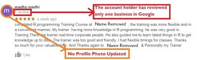 Example of Fake Review - Digital Marketing course in Chennai