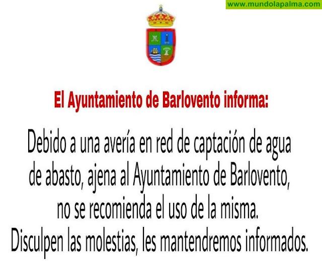 El Ayuntamiento de Barlovento pide que no se consuma el agua de abasto en el municipio