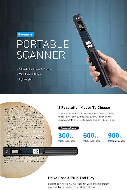 Gocomma Portable 900 DPI A4 Document Scanner Handheld