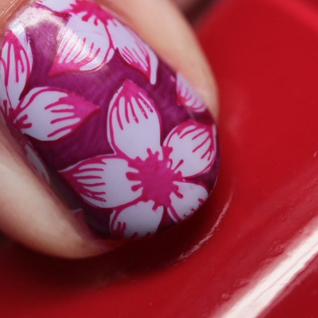 Essie Lilacism stamped with Really Red and Bahama Mama