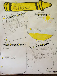 the day the crayons quit writing activity for preschoolers