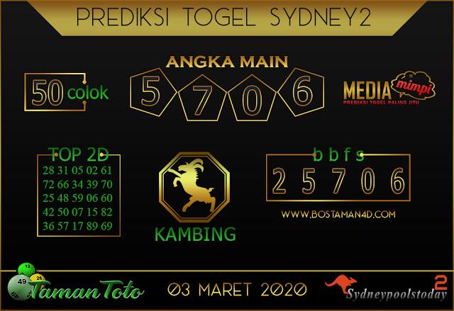 Prediksi Togel SYDNEY 2 TAMAN TOTO 02 MARET 2020