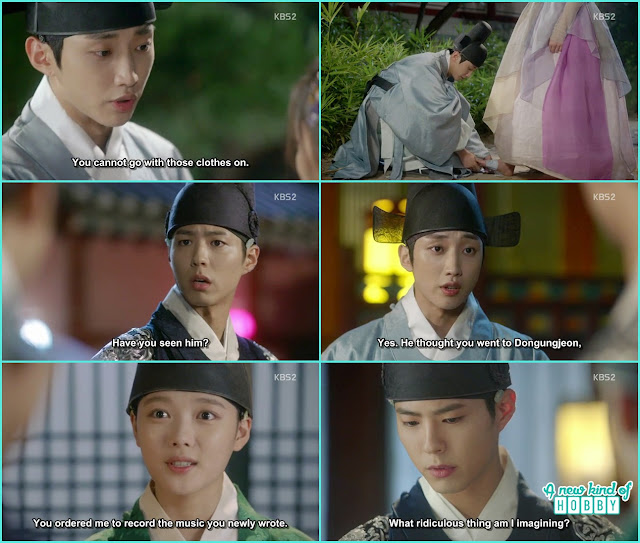 crown prince has doubt the girl dancing was Eunch Hong but he is not  - Love in The Moonlight - Episode 5 Review