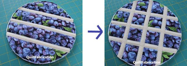 applying bias tape to make a lattice pie trivet