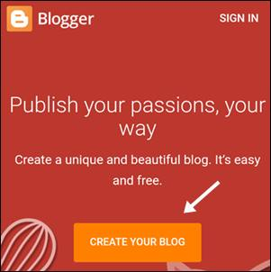 create your blog par click kare