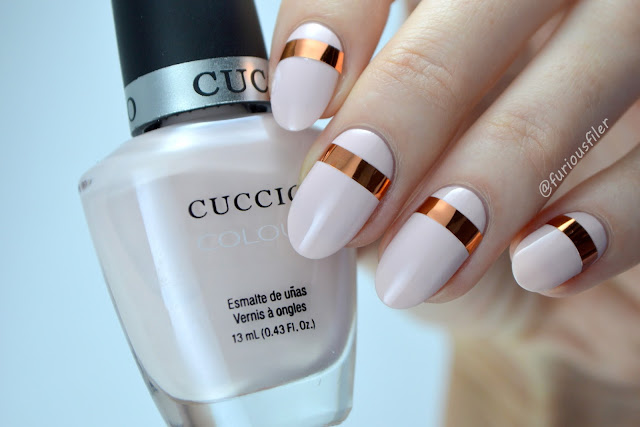 delicate metallic chrome striping tape nude nails