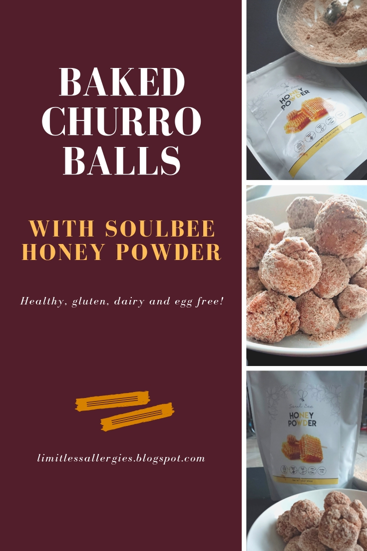 pinning image for Gluten Free, Dairy Free & Egg Free Baked Churro Balls with Soulbee Honey powder