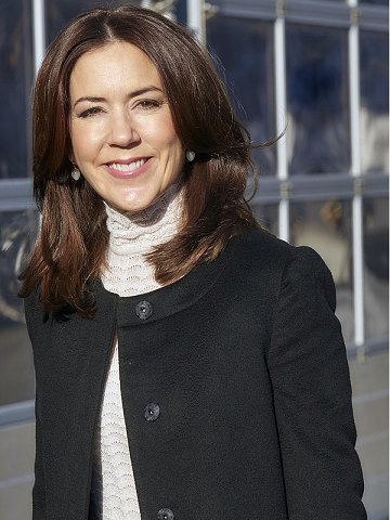 Crown Princess Mary wore By Malene Birger coat and blouse, Hugo Boss Skirt, Diamond earrings