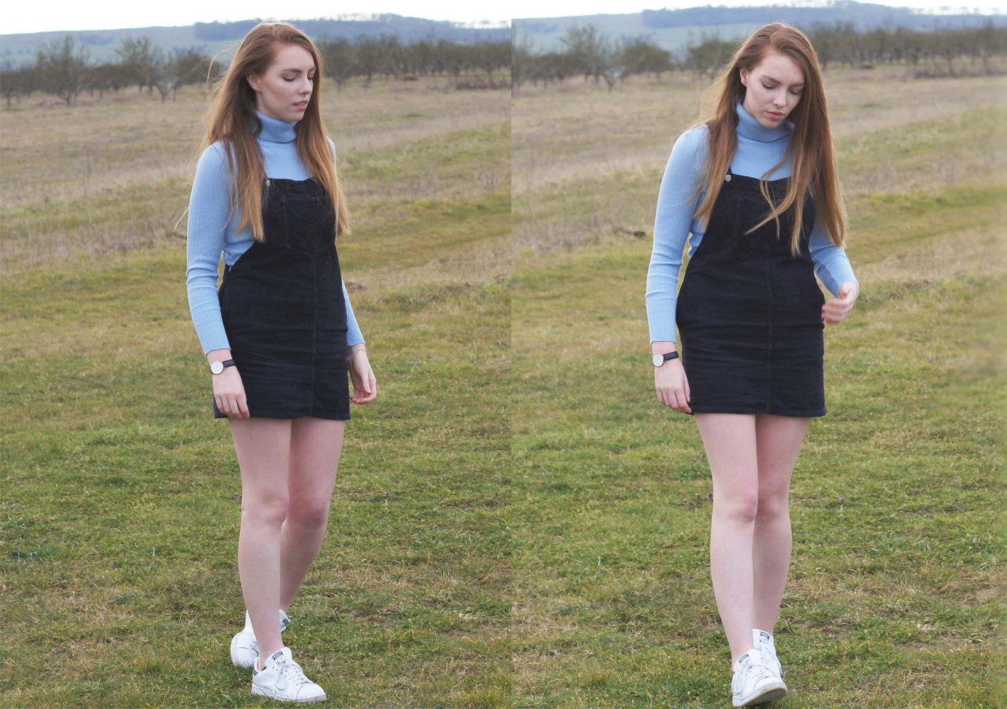 blue roll neck and dungaree dress topshop