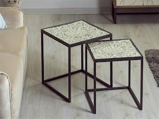mesa auxiliares nido en forja y madera clasicas