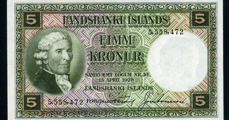 Iceland Money 5 Kronur Banknote 1928 Issue World