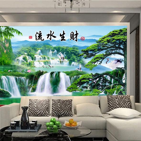 Tranh Phong cảnh thác nước psd