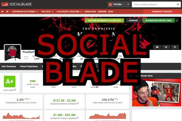 social blade στατιστικά για youtube,instagram twitch συνδρομητές προβολές έσοδα like share