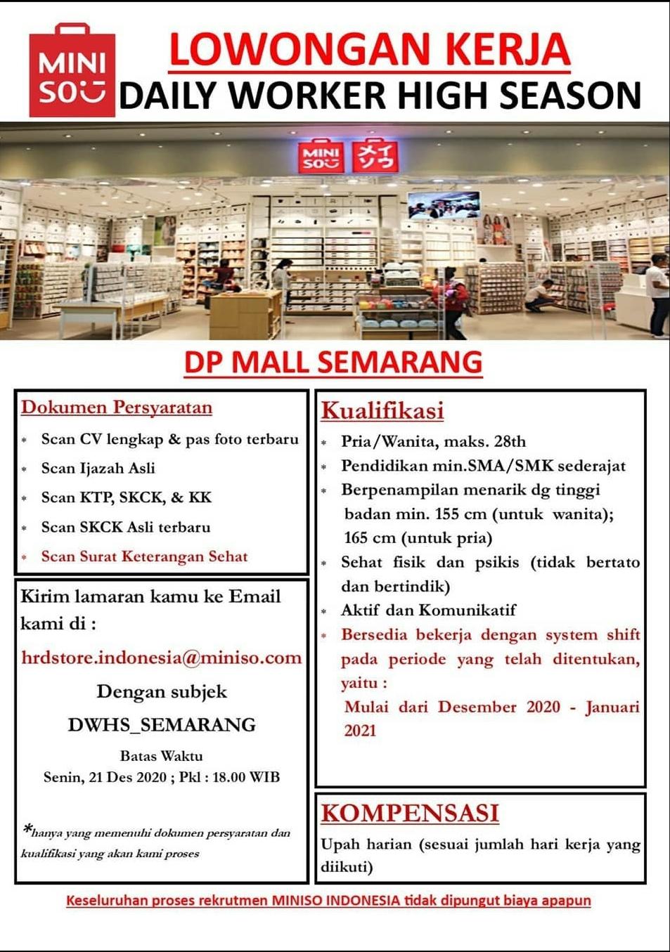Lowongan Kerja Miniso DP Mall Semarang Sebqgai Daily Worker High Season
