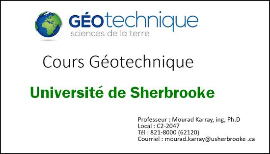 Cours Géotechnique - Université de Sherbrooke - Mourad Karray