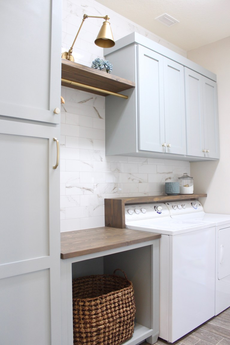 Light gray and marble laundry room makeover