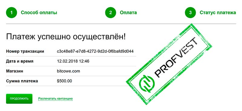 Депозит в проекте Bitcowe