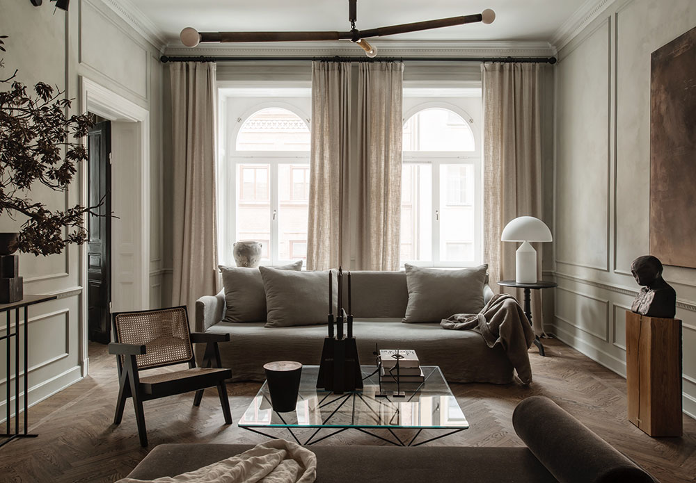 Sophisticated Scandinavian apartment in muted tones
