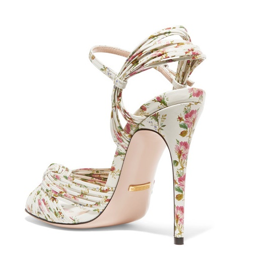 Gucci Knotted Floral-print Leather Sandals